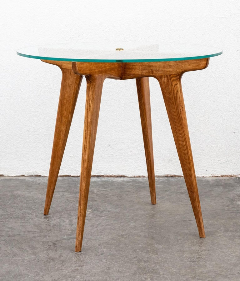 Gio Ponti Maple and Glass Circular Table For Sale 4