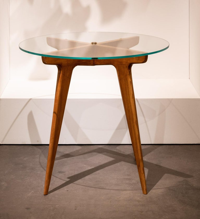 Gio Ponti Maple and Glass Circular Table For Sale 10