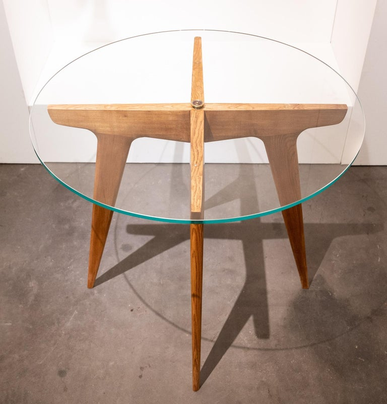 Mid-Century Modern Gio Ponti Maple and Glass Circular Table For Sale