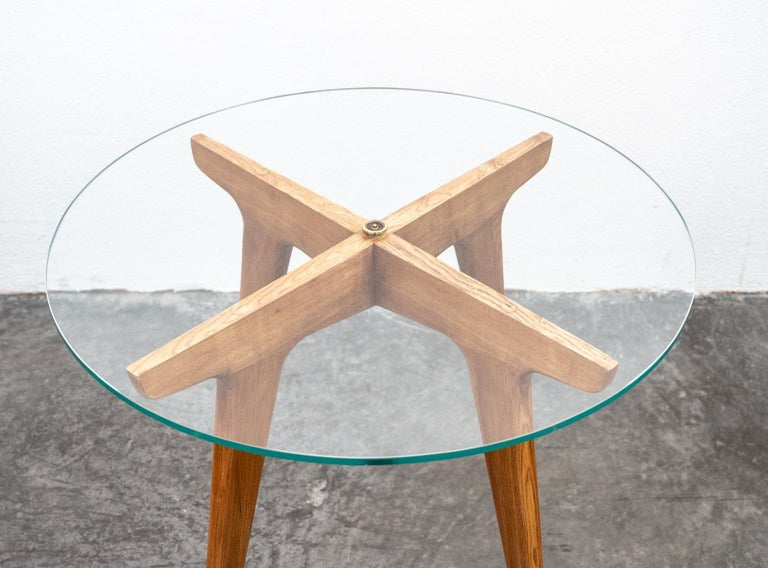 Gio Ponti Maple and Glass Circular Table For Sale 2