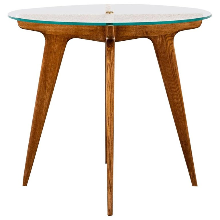 Gio Ponti Maple and Glass Circular Table For Sale