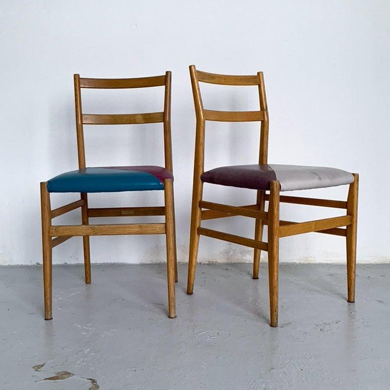 Mid-20th Century Gio Ponti Mid-Century Modern Ashwood Leggera Italian Chairs, 1950s For Sale