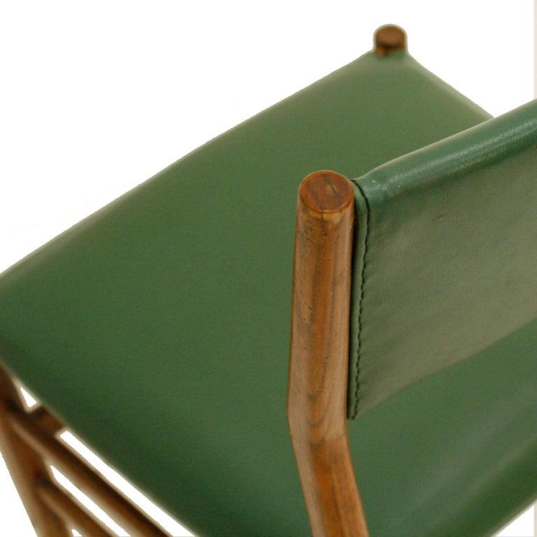 Leather Gio Ponti Mid-Century Modern Ashwood Leggera Italian Chairs, 1950s For Sale