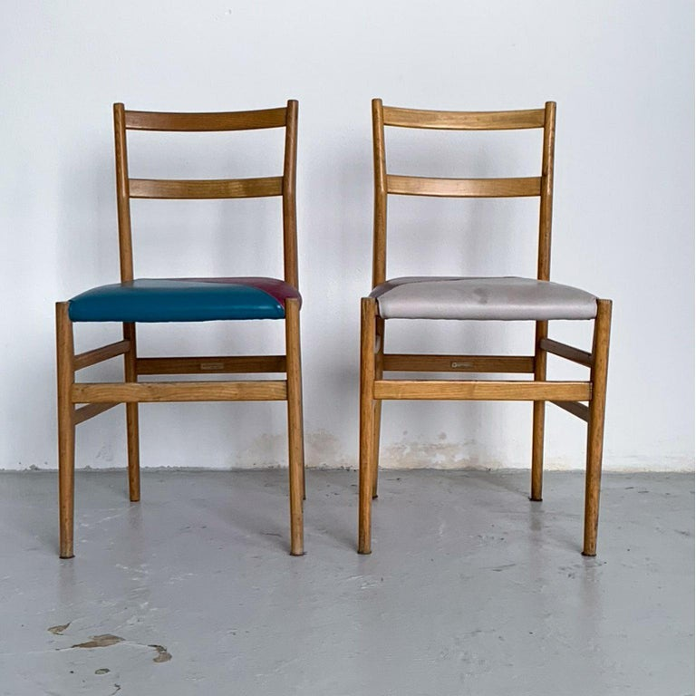 Gio Ponti Mid-Century Modern Ashwood Leggera Italian Chairs, 1950s For Sale 1