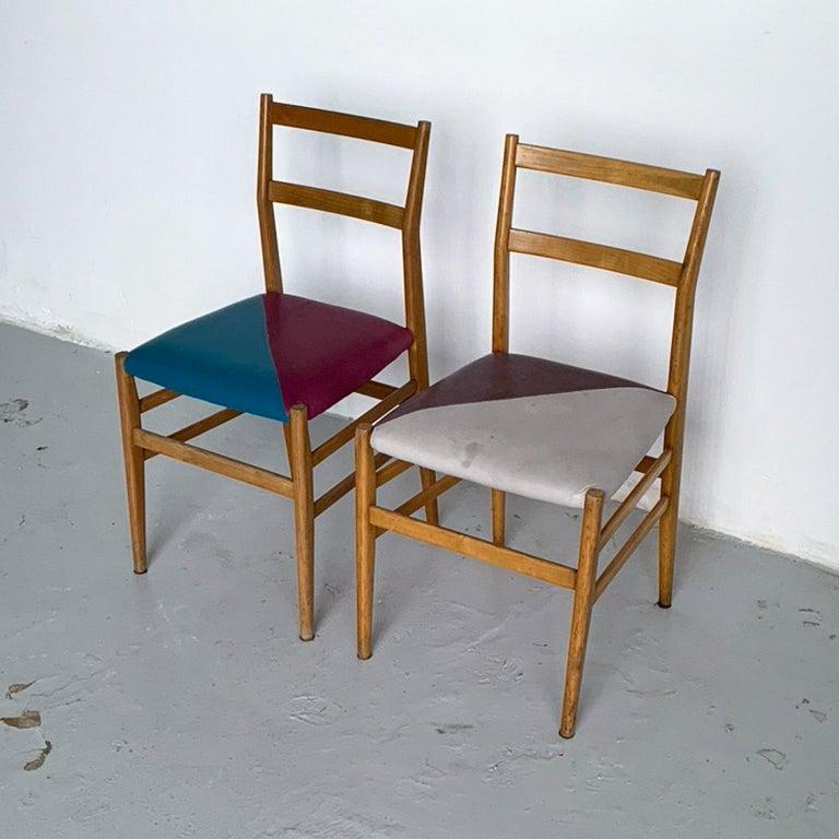 Gio Ponti Mid-Century Modern Ashwood Leggera Italian Chairs, 1950s For Sale 3