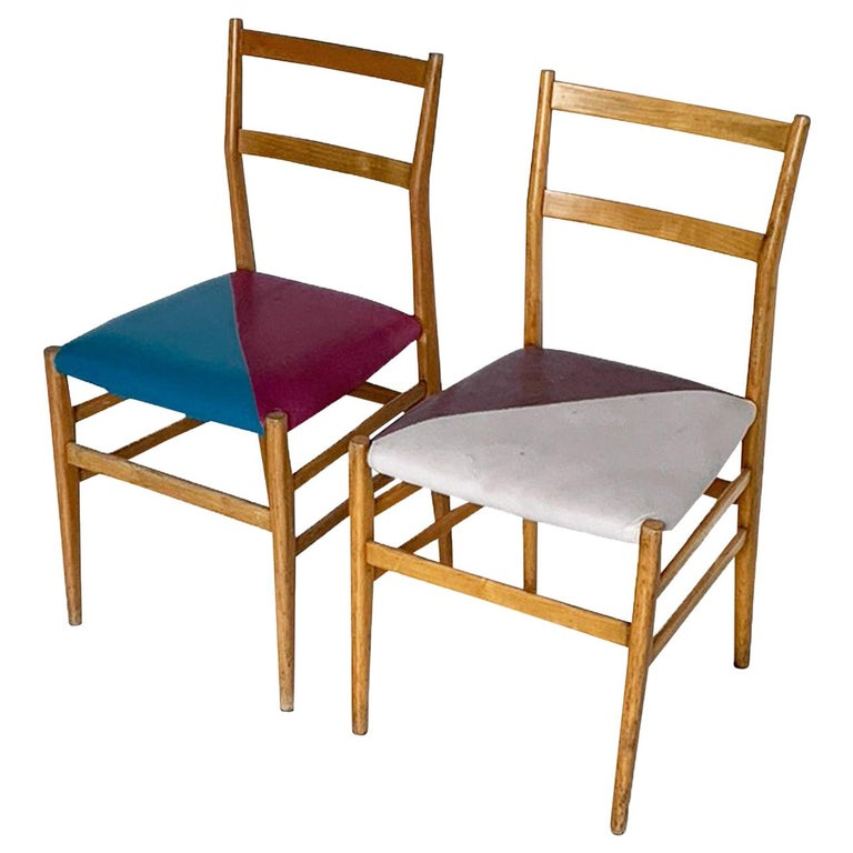 Gio Ponti Mid-Century Modern Ashwood Leggera Italian Chairs, 1950s For Sale