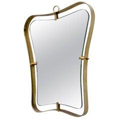 Gio Ponti Mid-Century Modern Italian Brass Mirror, 1945s