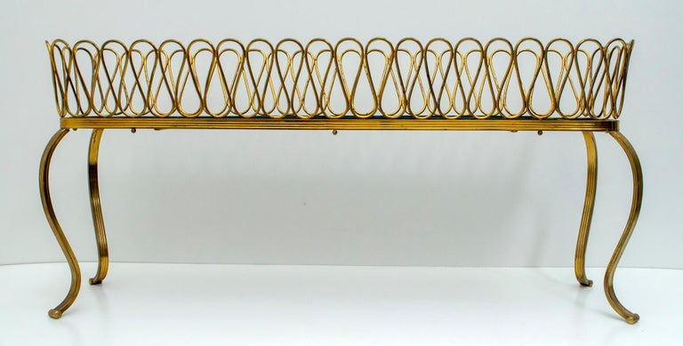Rare brass planter, designed by Gio Ponti for Home and Garden, Italy, 1940s.