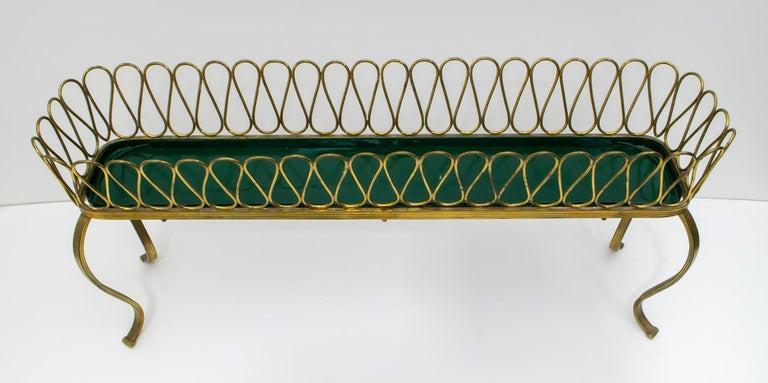 Gio Ponti Mid-Century Modern Italian Spiral Brass Planter
