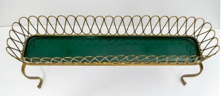 Mid-20th Century Gio Ponti Mid-Century Modern Italian Spiral Brass Planter
