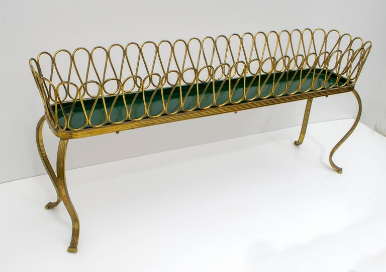 Metal Gio Ponti Mid-Century Modern Italian Spiral Brass Planter