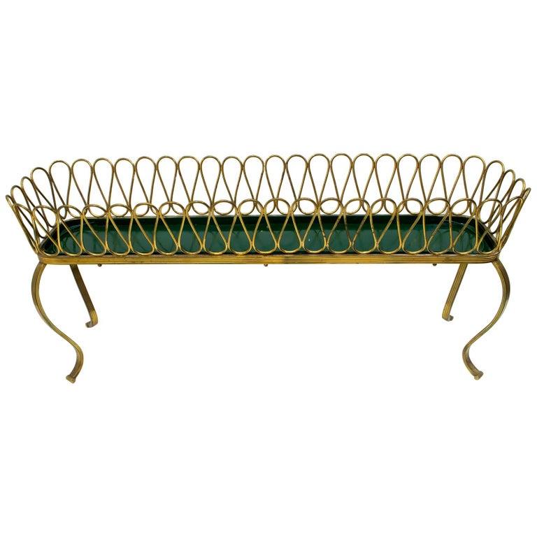 "Gio Ponti Mid-Century Modern Italian Spiral Brass Planter ""Casa E Giardino"" For Sale"