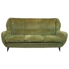 Gio Ponti Mid-Century Modern Linen Velvet Sofa for ISA, 1950s