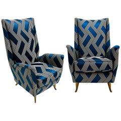 Gio Ponti Mid-Century Modern Pair of Wood Satin Fabric Italian Armchairs