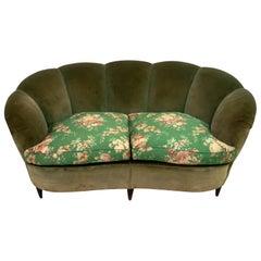 """Gio Ponti Mid-Century Modern Rare Italian Curved Sofa """"Casa E Giardino"""", 1936"""