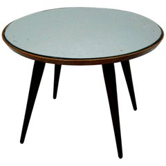 Gio Ponti Mid-Century Modern Solid Wood and Glass Italian Side Table