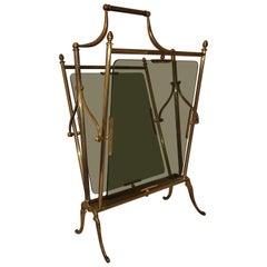 Gio Ponti Midcentury Brass with Glass Magazine Stand Holder or Rack, Italy