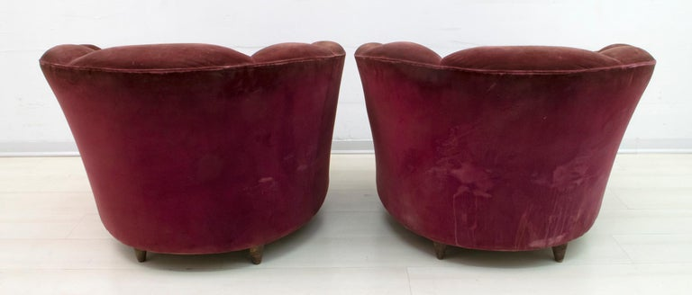 Gio Ponti Midcentury Italian Curved Sofa and Two Armchairs