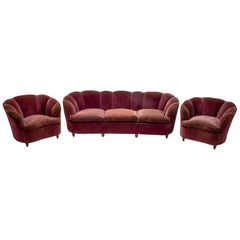 "Gio Ponti Midcentury Italian Curved Sofa and Two Armchairs ""Casa E Giardino"" 30s"