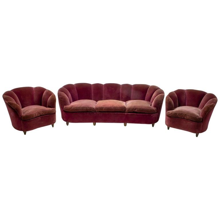 "Gio Ponti Midcentury Italian Curved Sofa and Two Armchairs ""Casa E Giardino"" 30s"