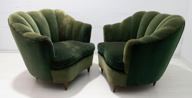 Mid-Century Modern Gio Ponti Midcentury Rare Italian Curved Armchairs