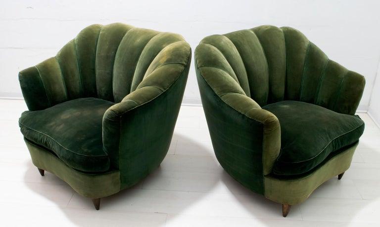 Mid-20th Century Gio Ponti Midcentury Rare Italian Curved Armchairs