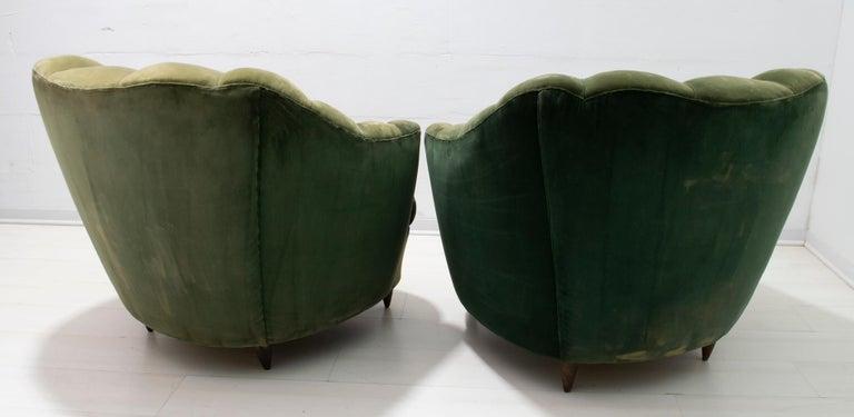 Velvet Gio Ponti Midcentury Rare Italian Curved Armchairs