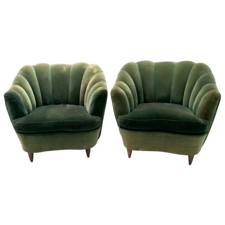"""Gio Ponti Midcentury Rare Italian Curved Armchairs """"Casa E Giardino"""" 1936s, Pair"""