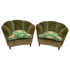 """Gio Ponti Midcentury Rare Italian Curved Armchairs """"Casa E Giardino"""" 1936, Pair"""