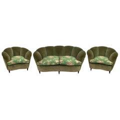 """Gio Ponti Midcentury Rare Italian Curved Sofa and 2 Armchairs """"Casa E Giardino"""""""