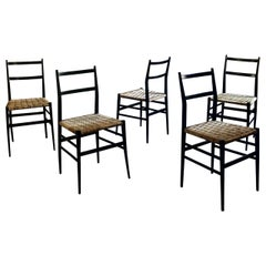 "Gio Ponti Midcentury Rope ""Leggera"" Dining Chair for Cassina, 1950s, Set of 5"