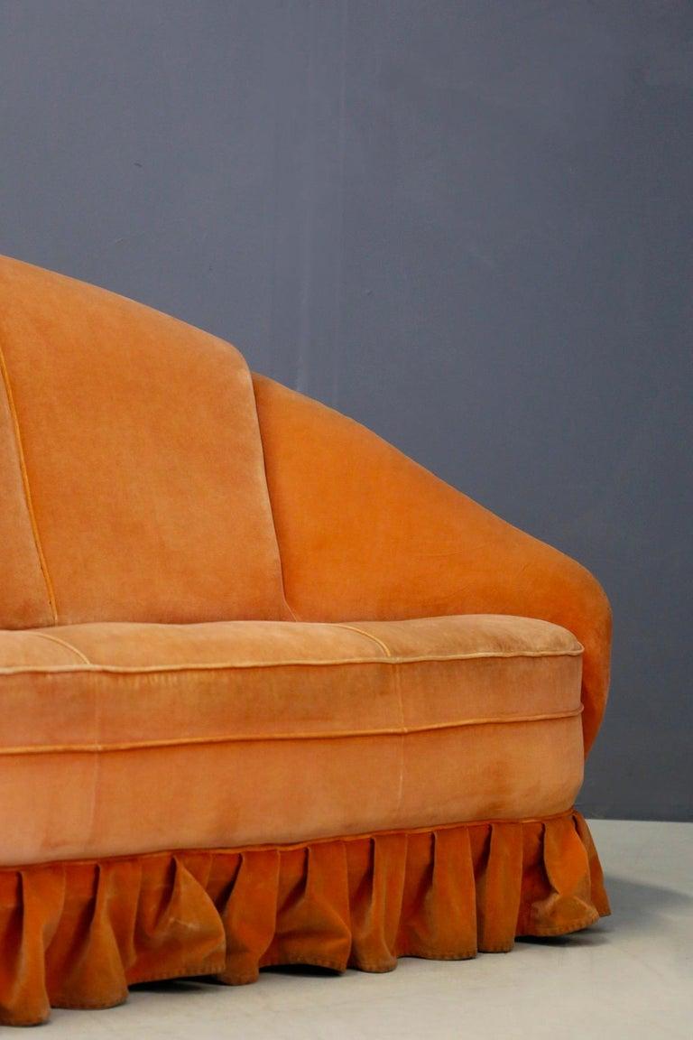 Italian Gio Ponti Midcentury Sofa in Orange Original Velvet, 1930s For Sale