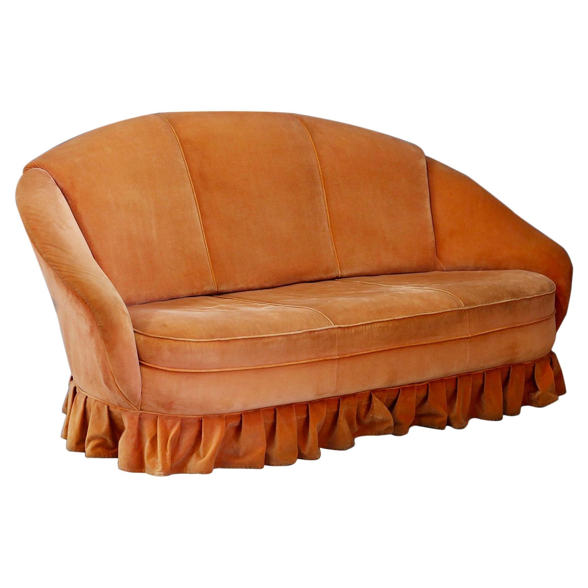 Gio Ponti Midcentury Sofa in Orange Original Velvet, 1930s