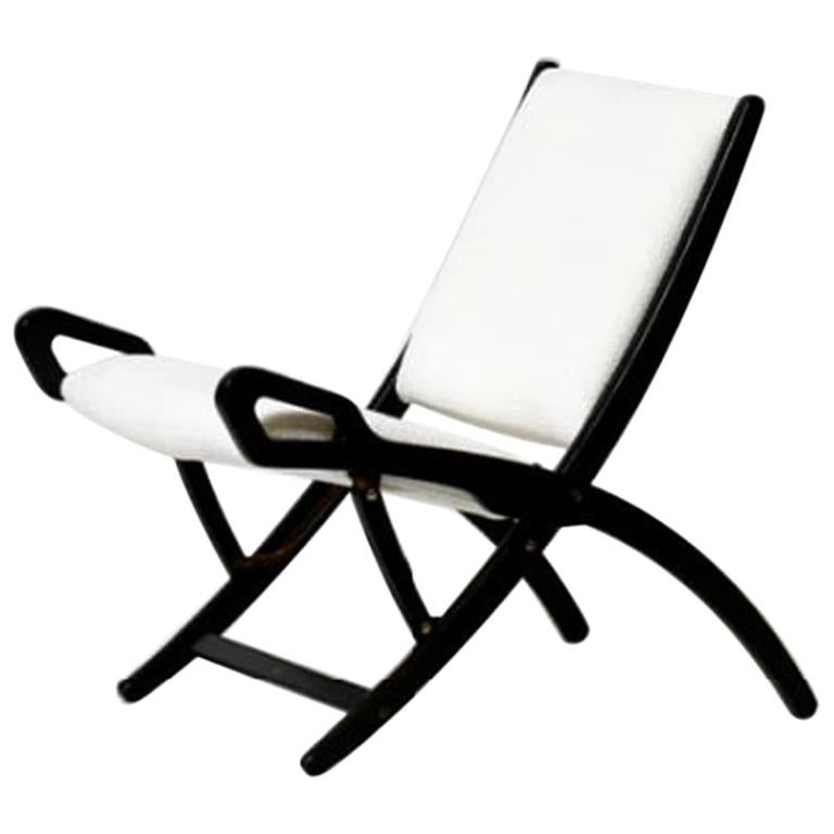 Gio Ponti Ninfea Chair in Wood and Fabric from 1950s