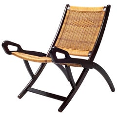 Gio Ponti Ninfea Rattan Folding Chair for Fratelli Reguitti Italie, 1950s