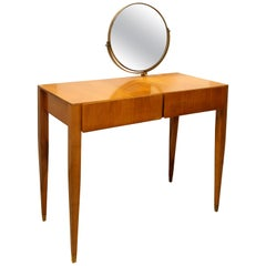 Gio Ponti Oak and Brass Vanity with Mirror