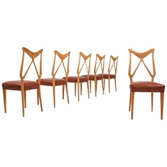 Gio Ponti Oak and Leather Dining Chairs