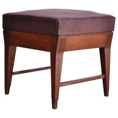 Gio Ponti Oak and Leather Stool with Brass Sabots
