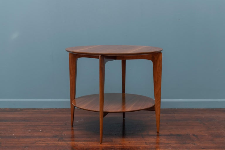 Gio Ponti design occasional table for Singer & Son's model 2136. High quality construction and design, the original finish has been cleaned and waxed retaining the warm rich walnut color.