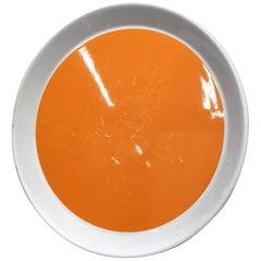 Gio Ponti Original for Franco Pozzi Ceramic Plate White and Orange, 60s Italy