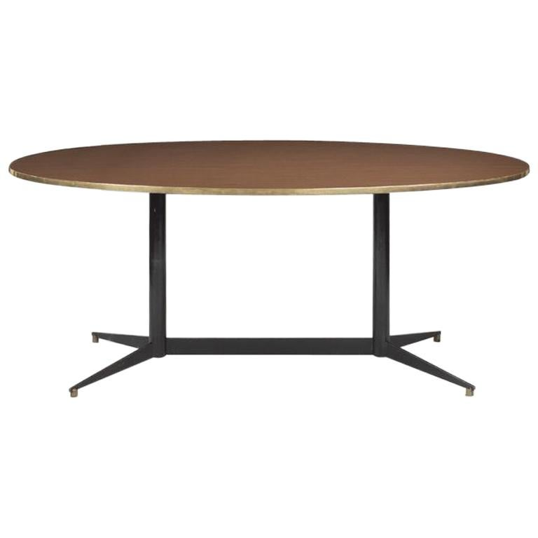 Gio Ponti Oval Dining Table in Wood and Brass Rima, 1950s, Italy