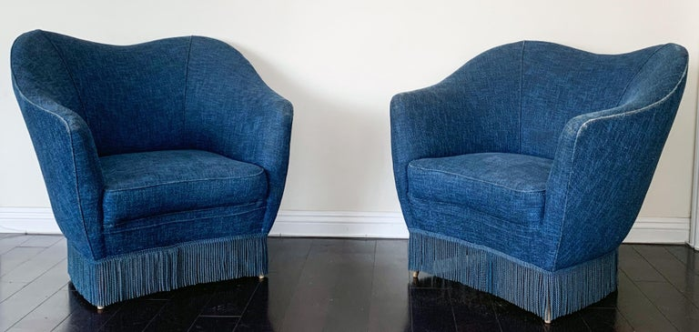 Fabric Gio Ponti Pair of Armchairs, Casa Giardino, Italy, 1950s For Sale
