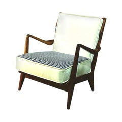 Pair of Gio Ponti Wood and White Fabric n. 516 Armchairs for Cassina, 1956