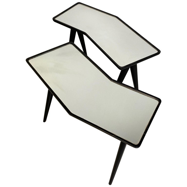 Gio Ponti Pair of black lacquered Walnut Side Tables Mirrored Glass Tops For Sale