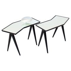 Gio Ponti Pair of Black Side Tables Mirrored Glass Tops Asymmetrical Forms