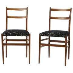 Gio Ponti Pair of Chairs 1950 Wood Velvety Fabric, Italy