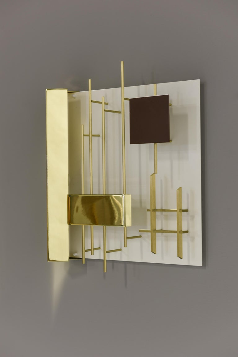 Mid-20th Century Gio Ponti Pair of Sculptural Wall Sconces Model 575 for Lumi Milano For Sale