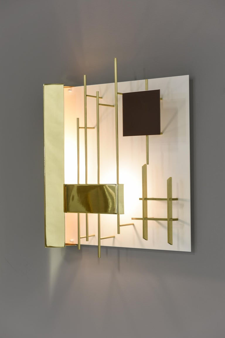 Brass Gio Ponti Pair of Sculptural Wall Sconces Model 575 for Lumi Milano For Sale