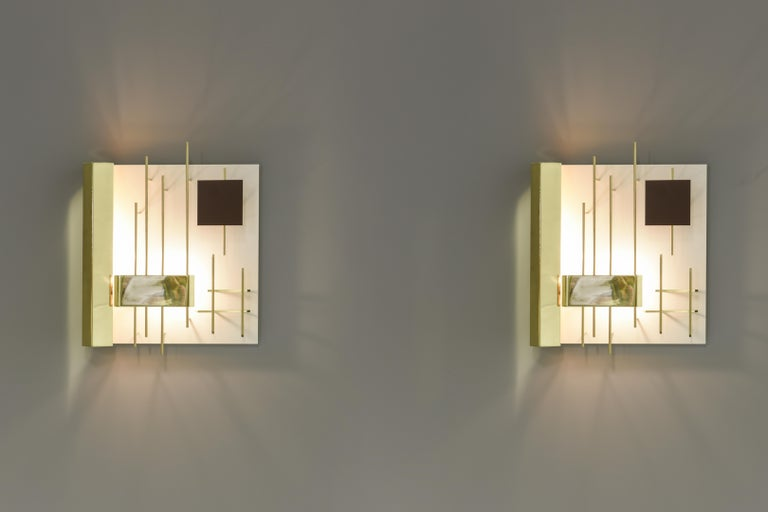 Gio Ponti Pair of Sculptural Wall Sconces Model 575 for Lumi Milano For Sale 3