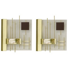 Gio Ponti Pair of Sculptural Wall Sconces Model 575 for Lumi Milano